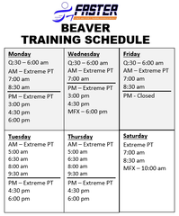 beaver-training-schedule
