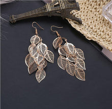 Load image into Gallery viewer, European and American fashion ol simple gold and silver multilayer hollow Leaf Earrings Long Leaf Earrings