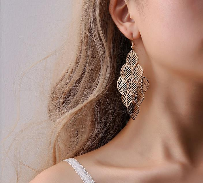 European and American fashion ol simple gold and silver multilayer hollow Leaf Earrings Long Leaf Earrings