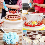 KOMCLUB 27.5cm Rotating Cake Plate for Cake Decoration Cake Server Cake Stand Spatula Plastic Cake Turntable Baking Accessories