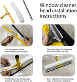 KOMCLUB Window Squeegee Cleaning Tool 2-in-1 Microfiber Scrubber and Squeegee for Car Shower Glass Door Cleaner