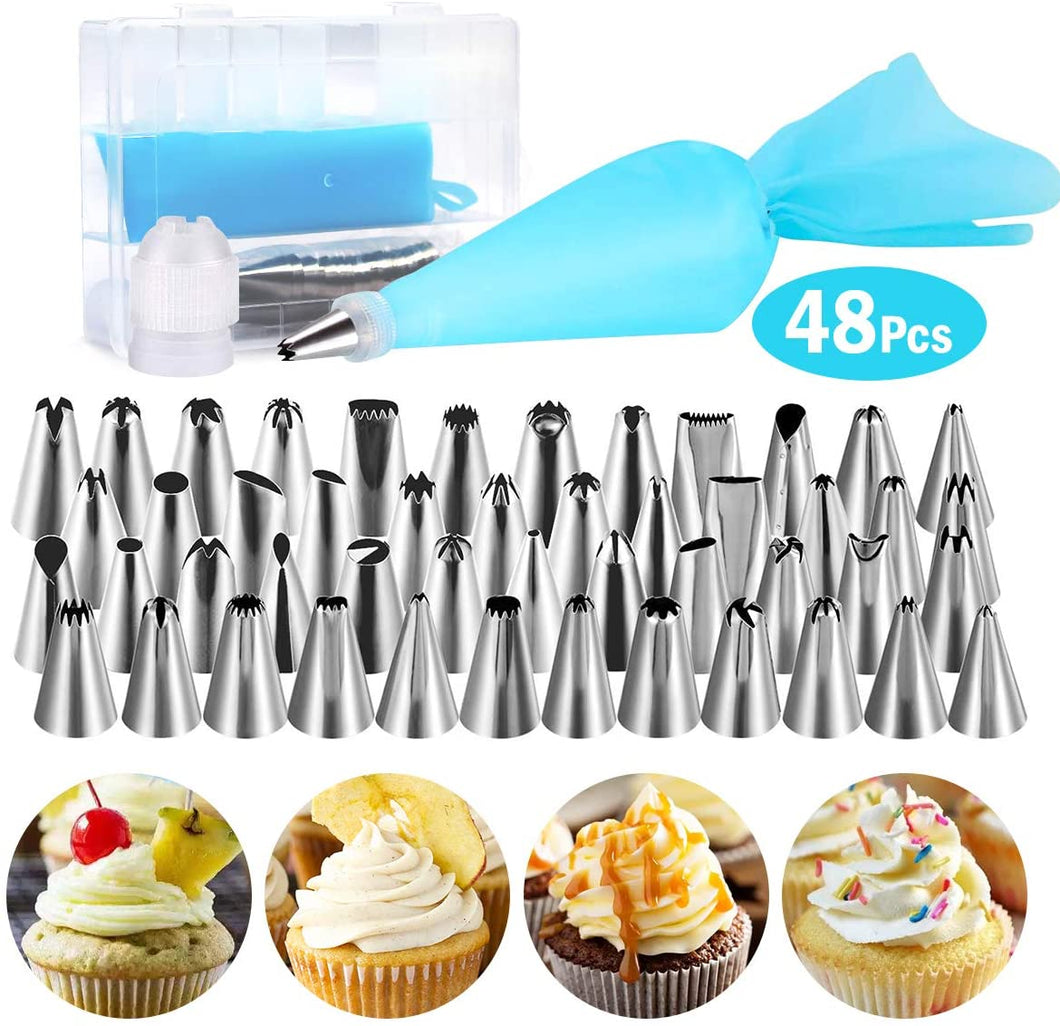 KOMCLUB 48Pcs Turntable Decorating Nozzle Set Cake Baking Supplies Set Cake Piping Decoration Kit