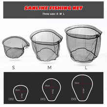 Load image into Gallery viewer, SANLIKE Portable Fishing Net Collapsible Rubberized PE Mesh Hole Depth Aluminium Frame Ring Folding Fishing Landing Dip Net