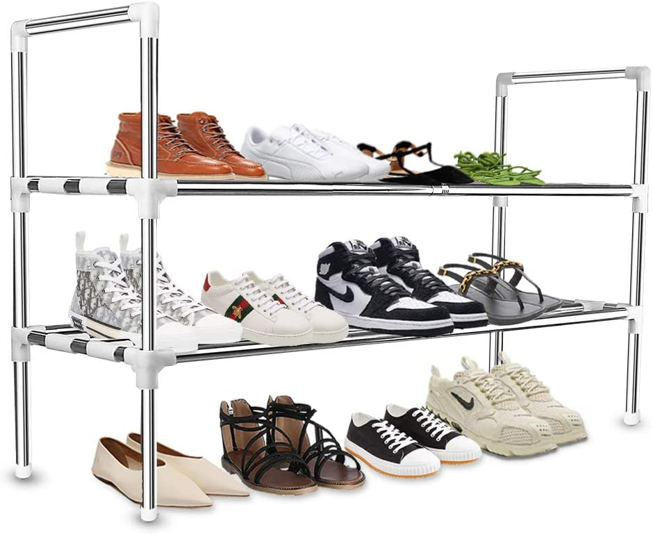 KOMCLUB 2 Tier Shoe rack stainless steel storage cabinets Stainless Steel Shelf Storage