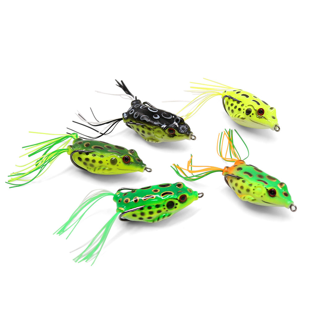 SANLIKE 5 Pcs Frog Baits with Dual Hooks Fishing Lures Top Water Minnow Crank Soft Bait Fishing Tackle Accessries 5.5cm