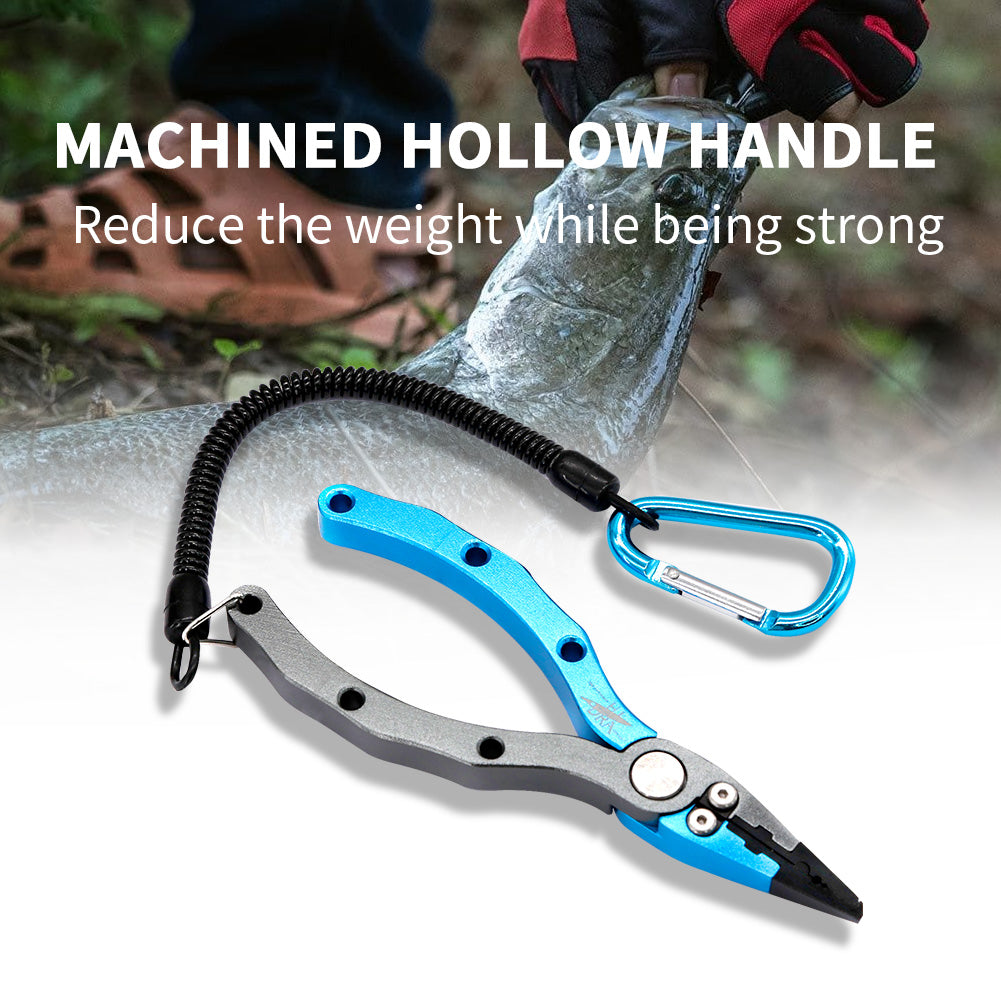 SANLIKE New Aluminum Alloy Fishing Pliers Split Ring Cutters Fishing Holder Tackle with Sheath & Retractable Tether Combo Hooks Remover