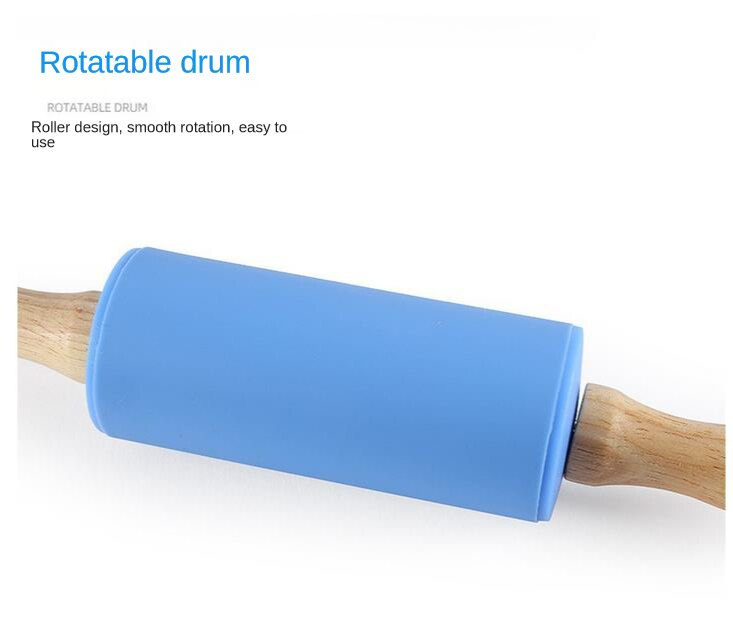 Food grade silica gel rolling pin, kneading stick and solid wood handle of rolling pin do not touch flour