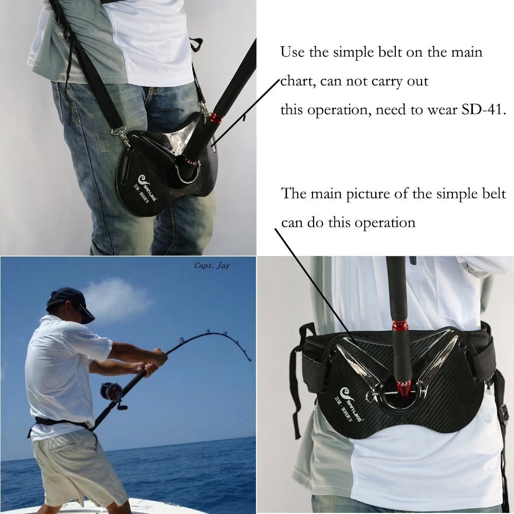 Sanlike Fishing Fighting Rod Holder Adjustable Belt Waist Carbon Fiber Fish Rod holder Fishing Accessories Fishing Tackle