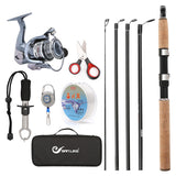 Travel Suit Telescopic Fishing Rod and Reel Combos FULL Kit, Spinning Fishing Gear Organizer Pole Sets with Line Lures Hooks