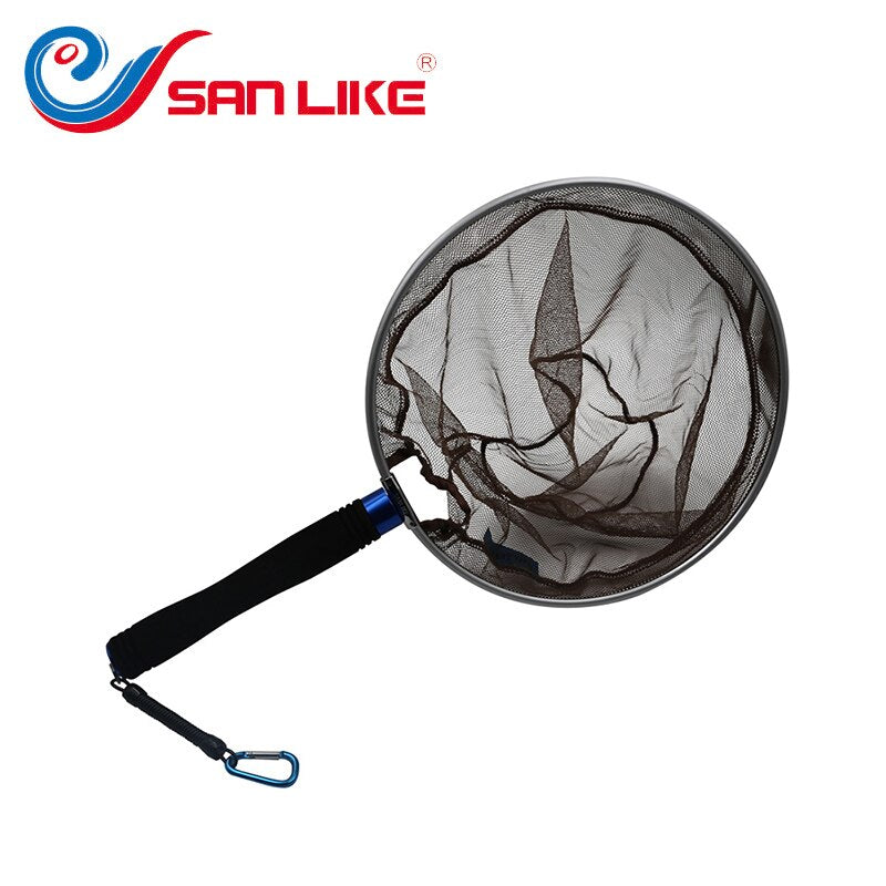 SANLIKE fishing net Aluminium mesh Nylon Fishing Landing Dip Net Fishing tools Tackle Fishing Accessories