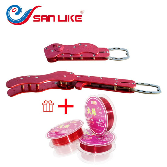 Free Shipping  Fishing Aluminum Lip Gripper With Free Fishing Line Folding Fish Pliers For Fishing Lovers