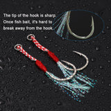 SANLIKE Fishing Hook Assist Hook Single Hook Metal Jig Tinsel Fishing Gear Light Shogging Offshore Jigging XS/S/M/L/XL 10&20pcs