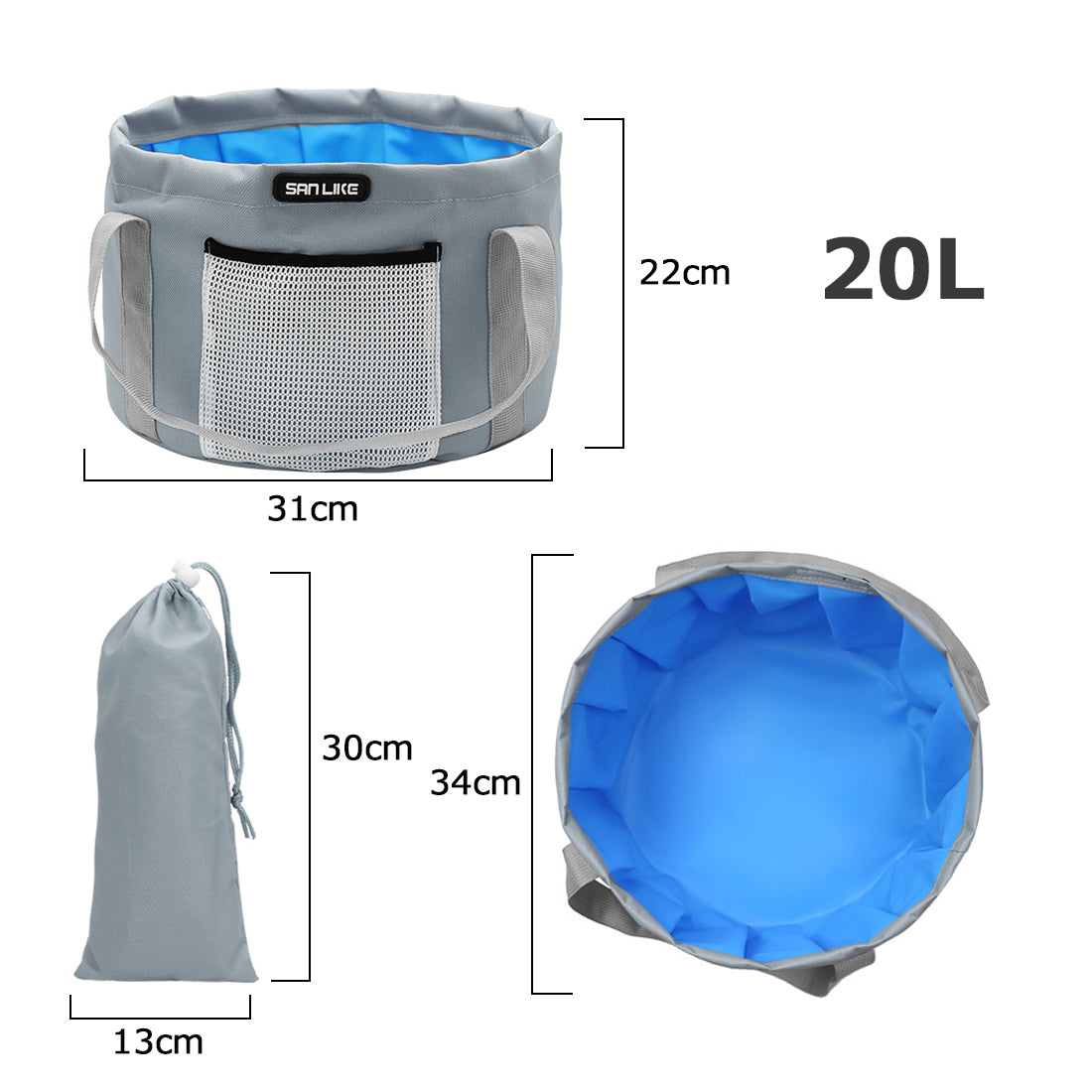 SANLIKE Waterproof Folding Fishing Bucket Small Foot Basin Travel Outdoor Car Washing Disaster Prevention Camp Storage Bag Outdoor Cooler