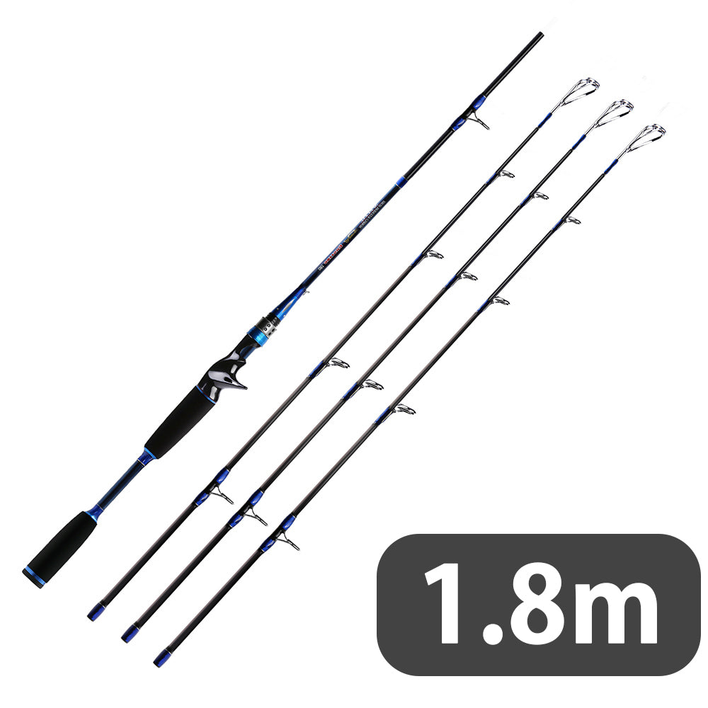 SANLIKE Carbon Fiber Multifunctional Portable Super Large Bait Fishing rods Baitcasting Fishing Rod with 3 Tips Medium Heavy for Bass Fishing
