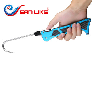 SANLIKE Telescopic Collapsible Fishing Gaff Hook Portable Stainless Steel Hook Tackle