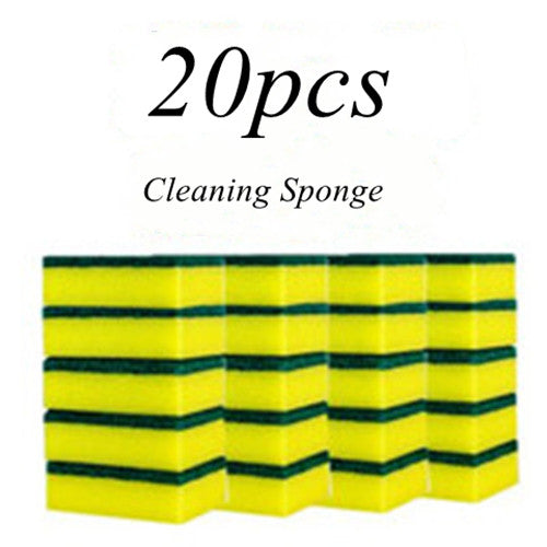KOMCLUB 20pcs Multi-purpose Double-faced Cleaning Sponge Scouring Pads Dish Washing Scrub Sponge Kitchen Accessories