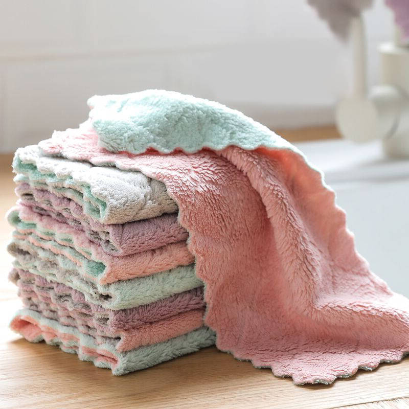 KOMCLUB 20pcs 10pcs 1pcs Double Layer Dishcloth Kitchen Cloth Coral Cloth Thickened Double Layer Kitchen Towel