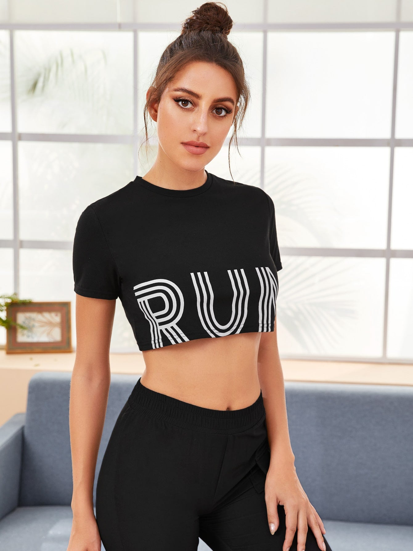 Letter Graphic Crop Sports Tee