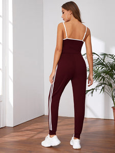 Side Striped Cami Top & Drawstring Waist Sweatpants