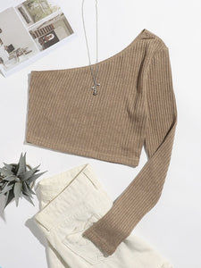 One Shoulder Rib-knit Crop Top