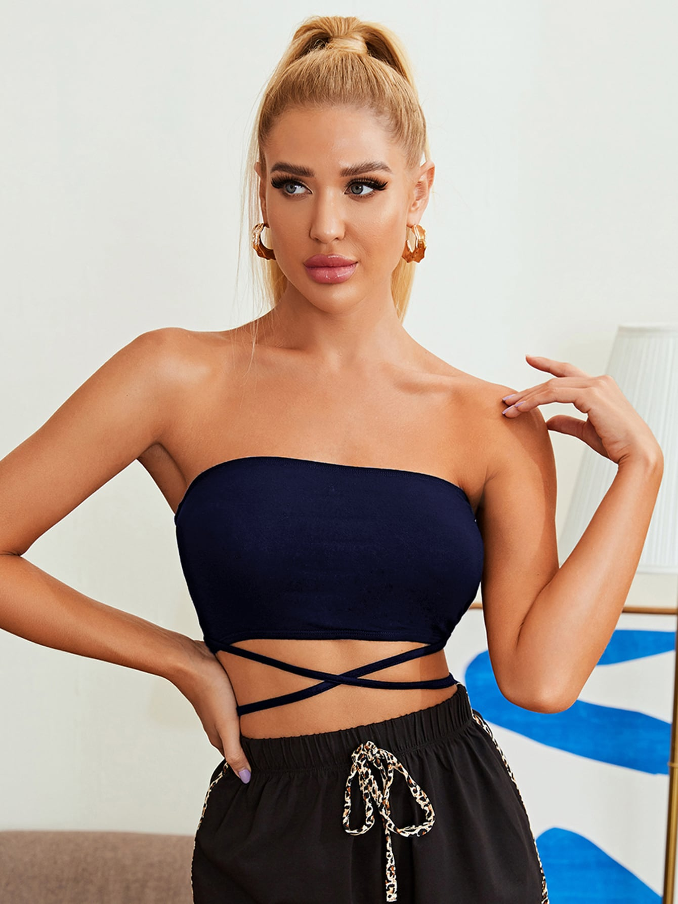 Lace Up Crop Tube Top