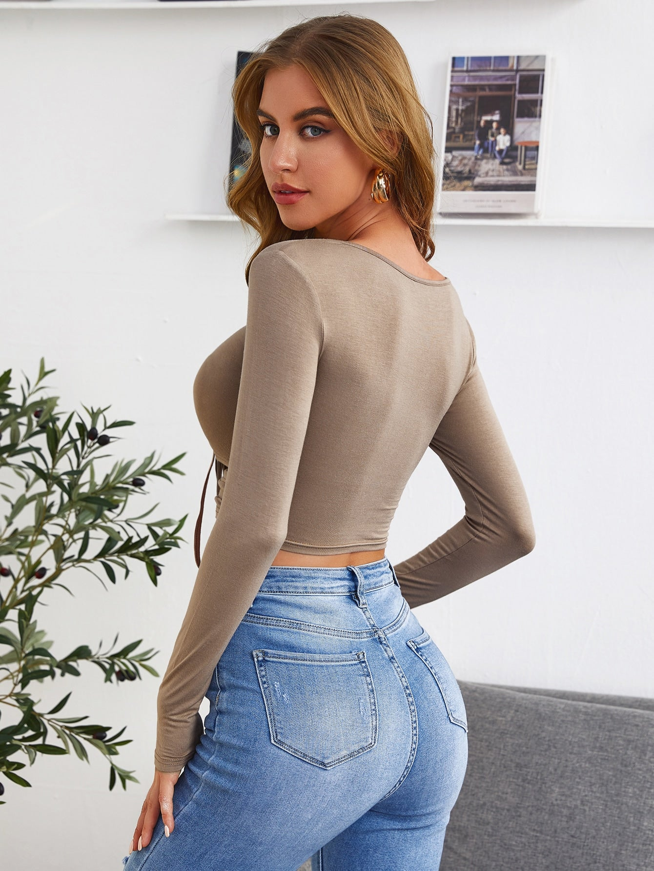 Drawstring Peekaboo Front Solid Crop Top