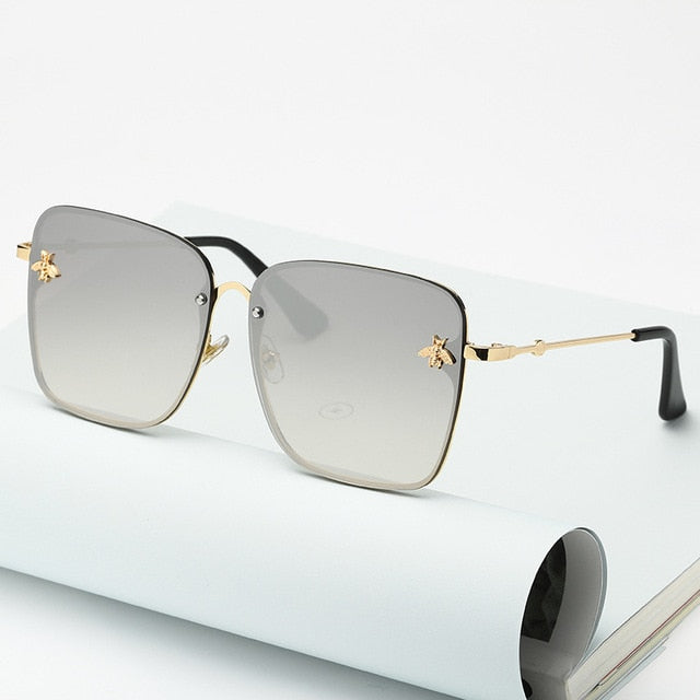 New Lady Oversize Rimless Square Bee Sunglasses