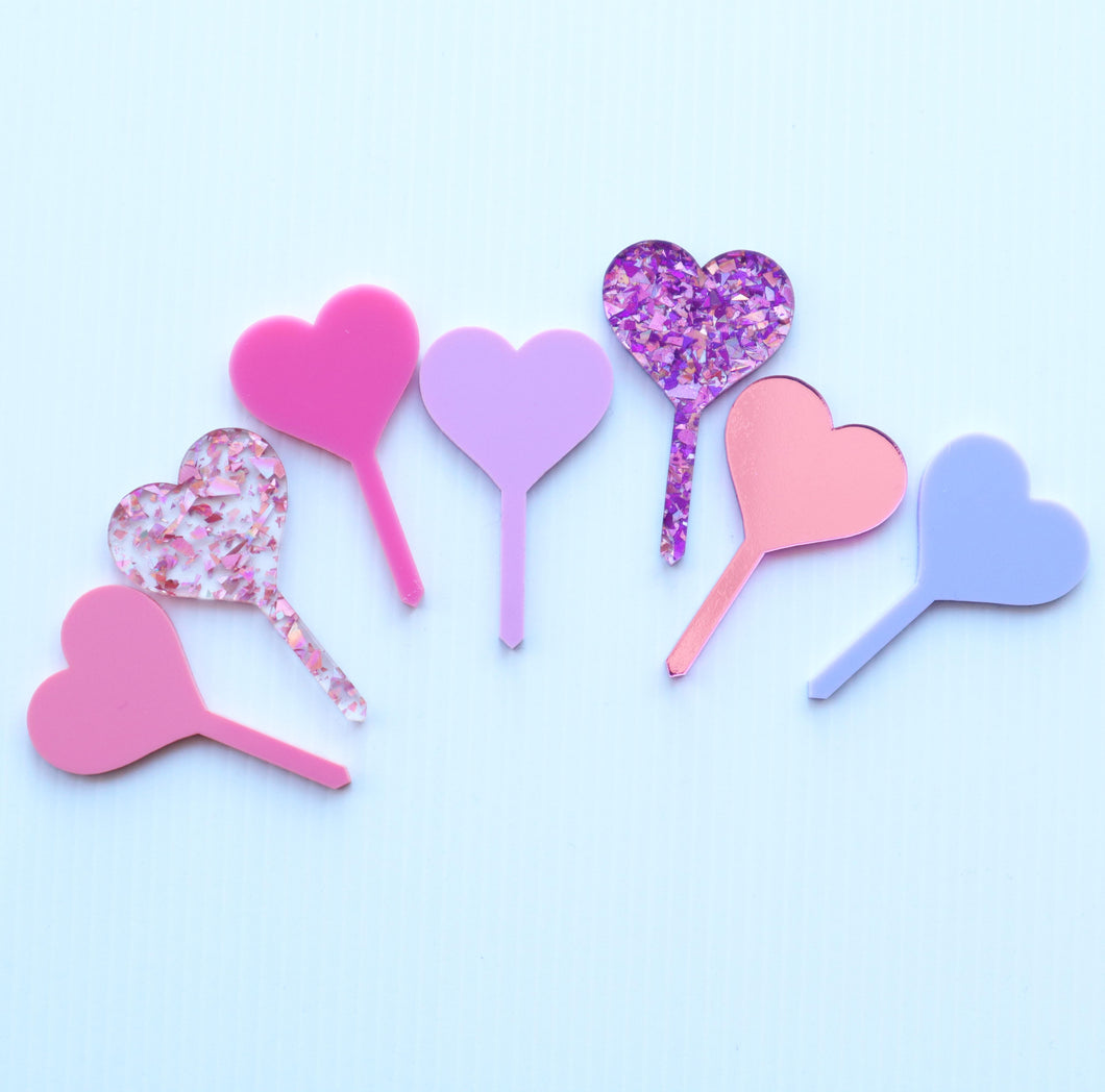 Heart Pastel Colours Acrylic Cupcake Toppers