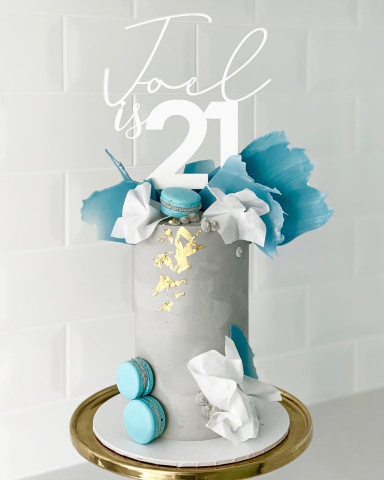 Joel is 21 Custom Name & Age Mix Fonts Birthday Cake Topper