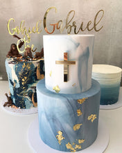 Load image into Gallery viewer, Custom Name Christening Script Acrylic Cake Topper & Cross Cake Charm Plaque