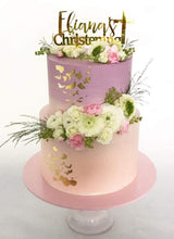 Load image into Gallery viewer, Custom Single Name Christening Signature with Cross Cake Topper