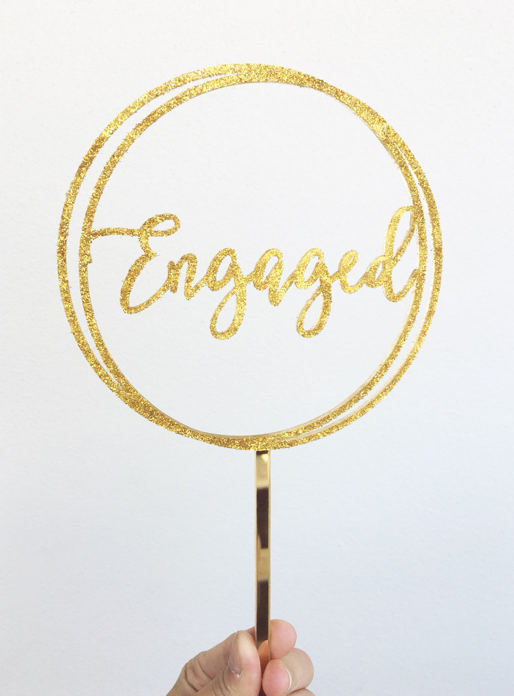 Engaged Circle Engagement Acrylic Cake Topper
