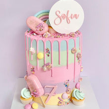 Load image into Gallery viewer, Sophia Double layered Custom Name Cake Topper & Age Birthday Cake Plaque Charm