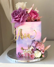 Load image into Gallery viewer, Custom Name Swirl Pink & Purple Girls Birthday Acrylic Cake Plaque Charm