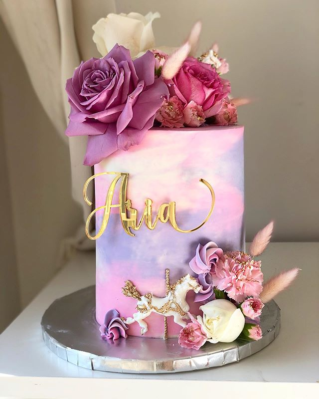 Custom Name Swirl Pink & Purple Girls Birthday Acrylic Cake Plaque Charm
