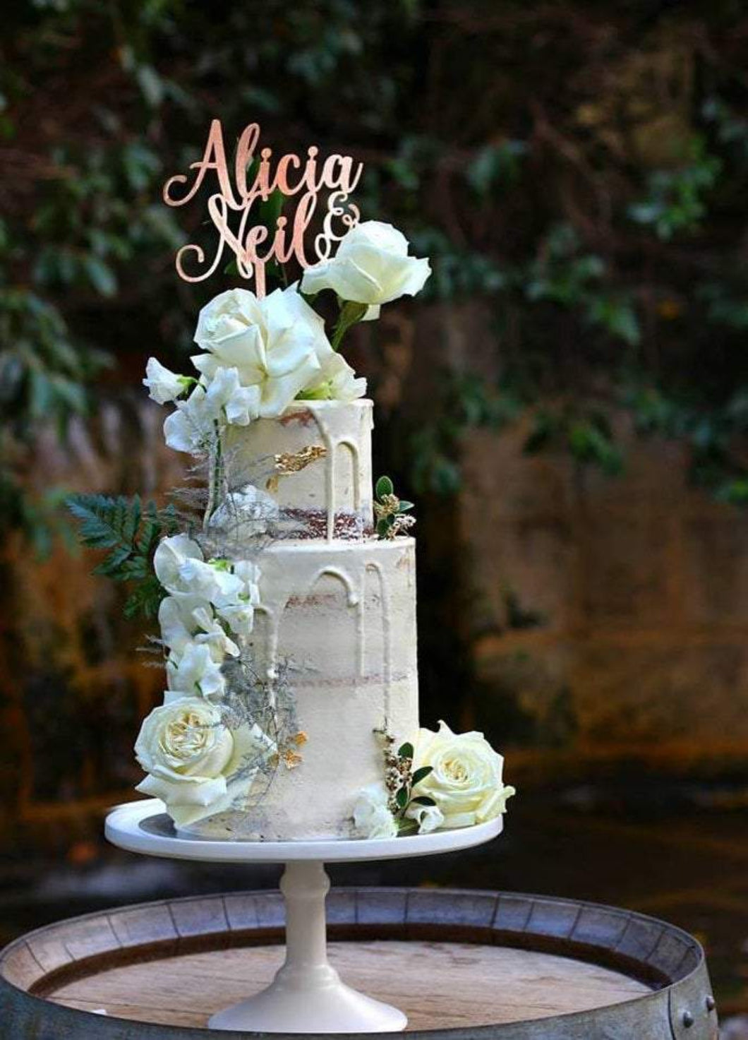 Custom Double Names Modern Script Wedding Cake Topper
