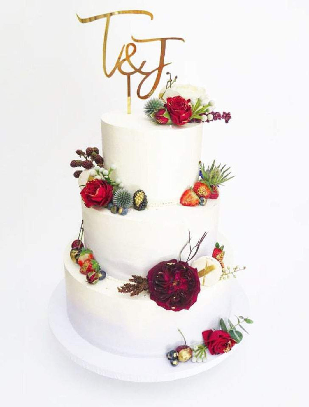 Custom Double Initials Wedding Cake Topper