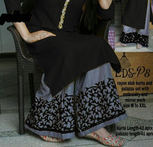 Load image into Gallery viewer, HEAVY REYON COTTON FULL STICHED kurta with palazzo with beautiful embroidery work in plaza  and nack