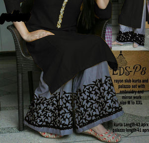 HEAVY REYON COTTON FULL STICHED kurta with palazzo with beautiful embroidery work in plaza  and nack