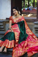 Load image into Gallery viewer, Traditional Kanchipuram at its finest and most classic! SAREE