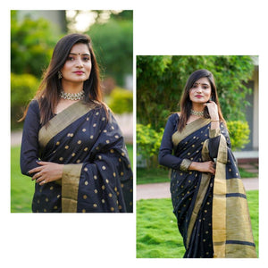 oft cotton silk saree with all over JEQUARED WEAVING butti AND Having Extra ordinary Blouse