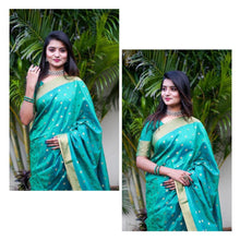 Load image into Gallery viewer, oft cotton silk saree with all over JEQUARED WEAVING butti AND Having Extra ordinary Blouse