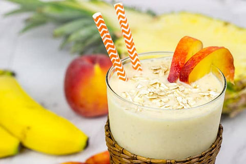 fresh peach and pineapple oatmeal smoothie recipe from the peach brothers