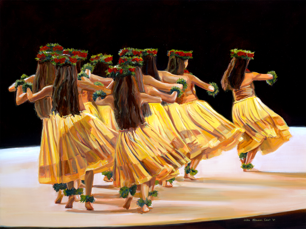 Hālau Nā Lei Kaumaka O Uka (in Yellow), Unstretched Canvas, Various Sizes, Julia Allisson Cost