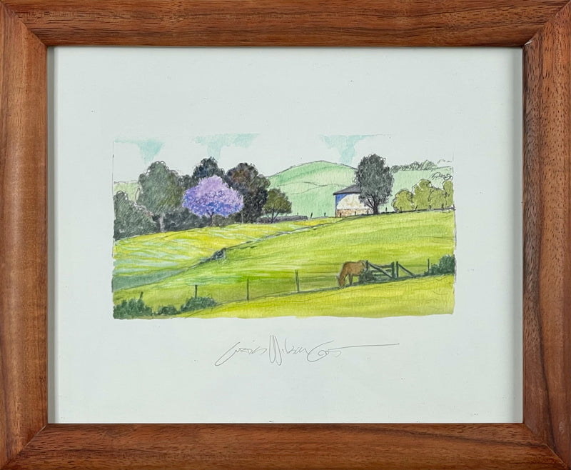 Lunch in Ulupalakua, Limited edition sketch reproduction in 1 Piece Frame, 9 3/4