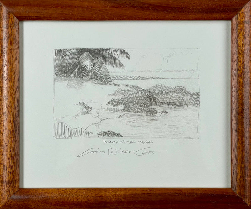 Beach Chair, Limited edition sketch reproduction in 1 Piece Frame, 9 3/4