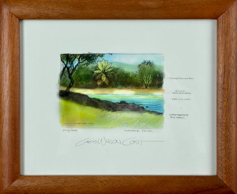 Makena Palm, Limited edition sketch reproduction in 1 Piece Frame, 9 3/4