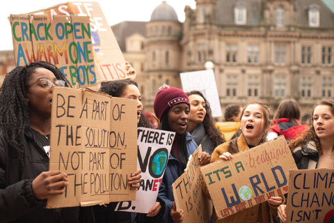 Group of activists girls protesting for climate change
