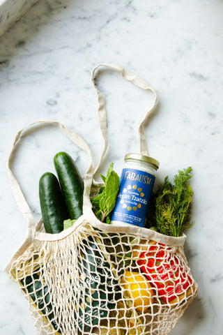 String Cotton Bag with Groceries inside