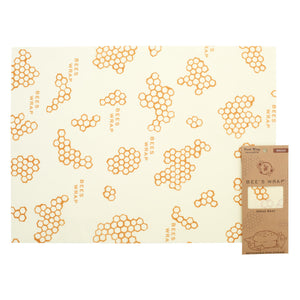 XL beeswax wrap next to packaging
